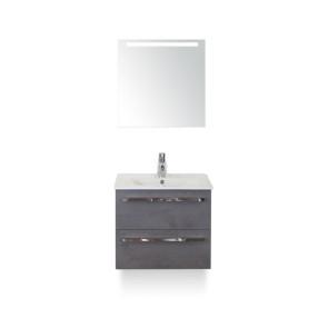 Amador badmeubelset 60cm wastafelkast 2 laden beton antraciet, keramische wastafel enjoy en spiegel met één horizontale verlichtingsbalk (led)