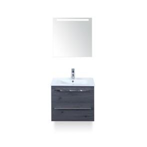 Amador badmeubelset 60cm wastafelkast 2 laden lariks antraciet, keramische wastafel enjoy en spiegel met één horizontale verlichtingsbalk (led)