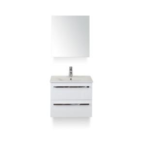 Amador badmeubelset 60cm wastafelkast 2 laden wit hoogglans, keramische wastafel enjoy en spiegelkast