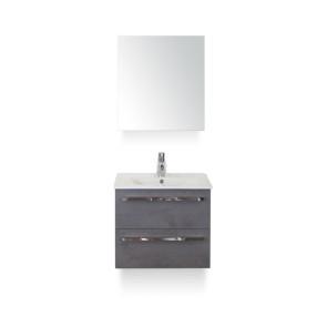 Amador badmeubelset 60cm wastafelkast 2 laden beton antraciet, keramische wastafel enjoy en spiegelkast