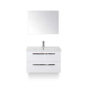 Amador badmeubelset 80cm wastafelkast 2 laden wit hoogglans, keramische wastafel enjoy en spiegel