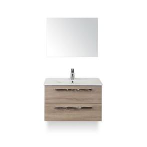 Amador badmeubelset 80cm wastafelkast 2 laden grijs eiken, keramische wastafel enjoy en spiegel