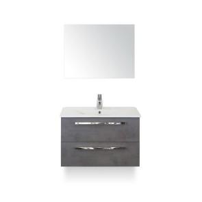 Amador badmeubelset 80cm wastafelkast 2 laden beton antraciet, keramische wastafel enjoy en spiegel