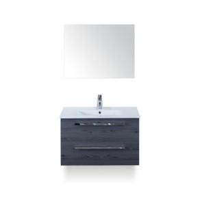 Amador badmeubelset 80cm wastafelkast 2 laden lariks antraciet, keramische wastafel enjoy en spiegel