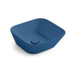 Waskommen mees design opbouw waskom vierkant mat blauw