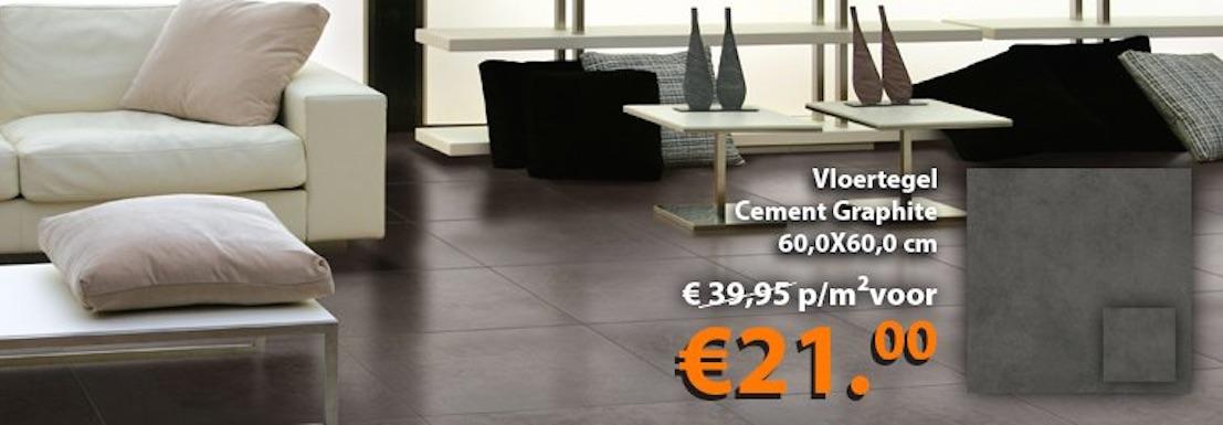 Vloertegel Cement Graphite